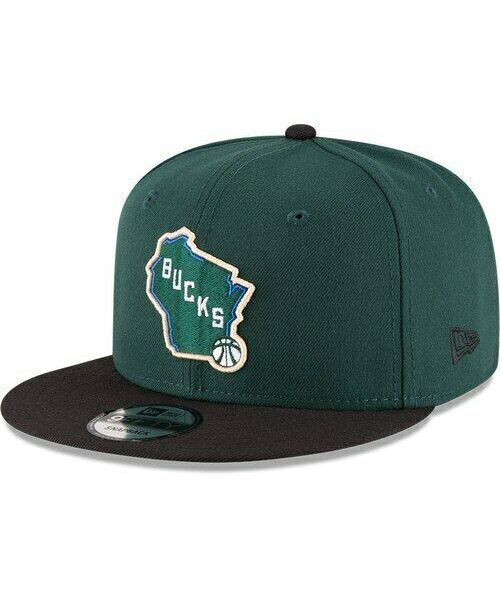 New Era Milwaukee Bucks NBA 2TONE OSFA 9FIFTY Snapback Hat Green Black