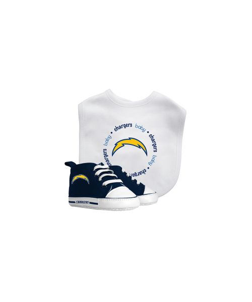 Baby Fanatic Los Angeles Chargers NFL Authentic Bib and Prewalkers Set White Navy Blue