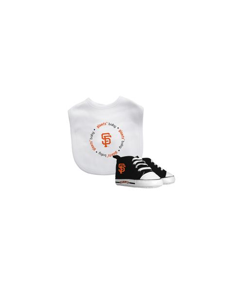 Baby Fanatic San Francisco Giants MLB Authentic Bib and Prewalkers Set White Black Orange