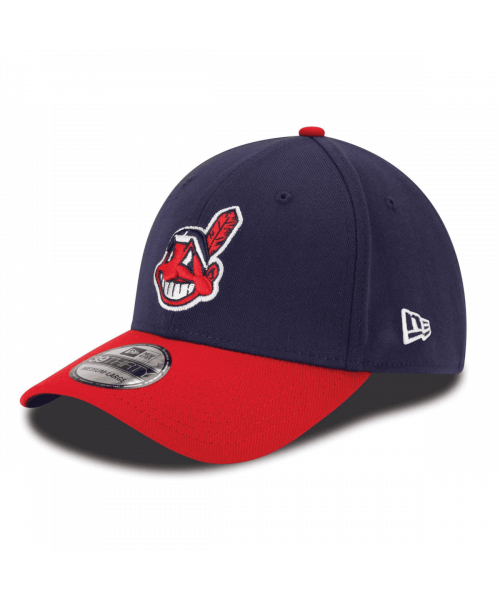 New Era Cleveland Indians Team Classic MLB YOUTH 39THIRTY Stretch Fit Hat Navy Blue Red