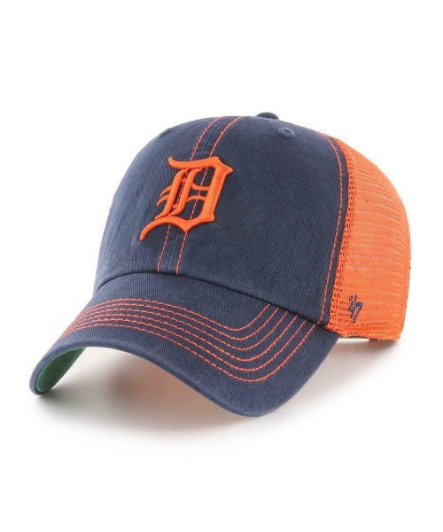 '47 Brand Detroit Tigers MLB Clean Up Trawler Trucker Snapback Adult Hat Navy Blue Orange