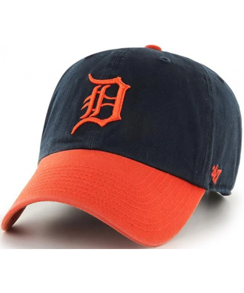 '47 Brand Detroit Tigers MLB Clean Up Two Tone Strapback Hat Navy Blue Orange