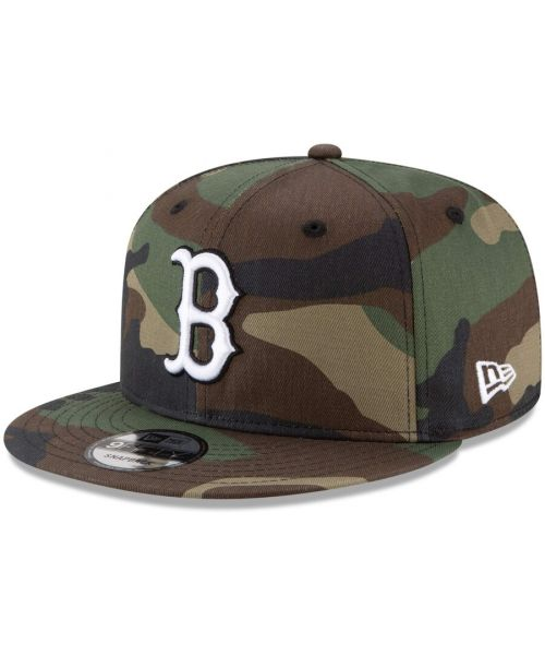 New Era Boston Red Sox MLB Basic Snap 9FIFTY Snapback Hat Green Camo White Logo