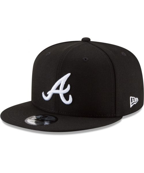 New Era Atlanta Braves MLB Basic Snap 9FIFTY Snapback Hat Black White Logo