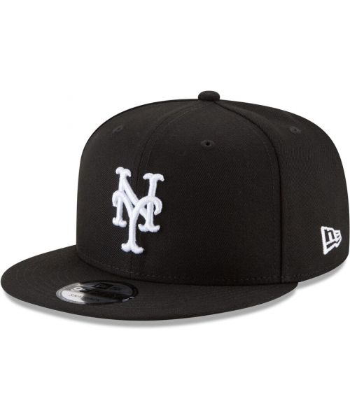 New Era New York Mets MLB Basic Snap 9FIFTY Snapback Hat Black White Logo