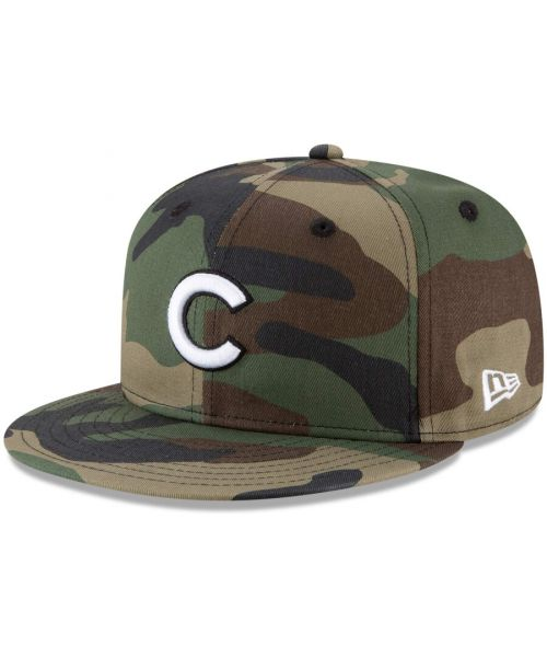 New Era Chicago Cubs MLB Basic Snap Camo 9FIFTY Snapback Hat Green Camo White Logo