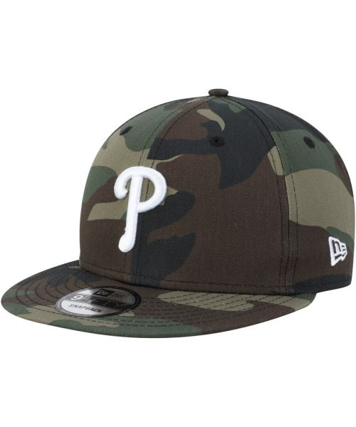 New Era Philadelphia Phillies MLB Basic Snap Camo 9FIFTY Snapback Hat Green Camo White Logo