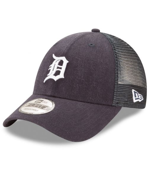 New Era Detroit Tigers MLB Trucker Mesh 9FORTY Snapback Hat Navy Blue
