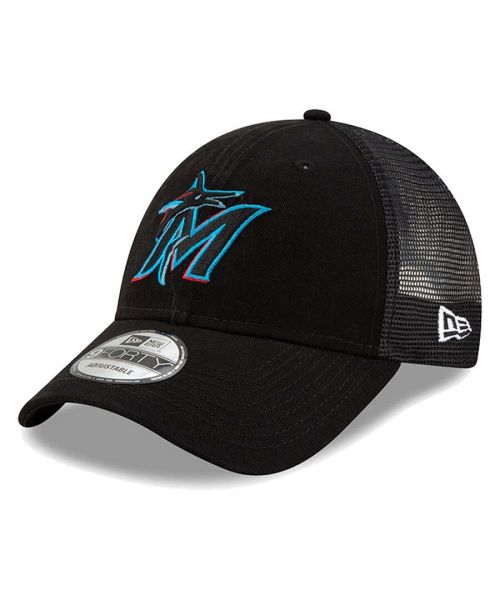 New Era Miami Marlins MLB Trucker Mesh 9FORTY Snapback Hat Black