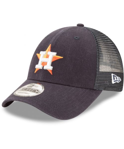 New Era Houston Astros MLB Trucker Mesh 9FORTY Snapback Hat Navy Blue