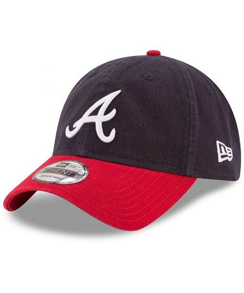 New Era Atlanta Braves MLB Core Classic Adjustable 9TWENTY Strapback Hat Navy Blue Red