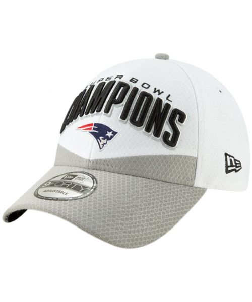 New Era New England Patriots NFL Super Bowl LIII Champions Trophy Collection Locker Room 9FORTY Snapback Hat White Grey