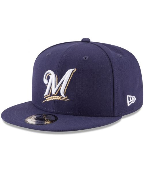 New Era Milwaukee Brewers MLB Basic Snap OTC 9FIFTY Snapback Hat Navy Blue White Logo