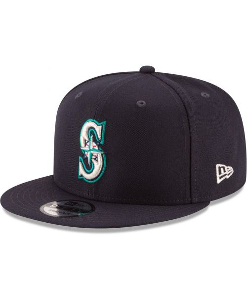 New Era Seattle Mariners MLB Basic Snap OTC 9FIFTY Snapback Hat Navy Blue Silver Logo