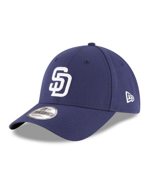 New Era San Diego Padres MLB The League 9FORTY Velcroback Hat Navy Blue White Logo