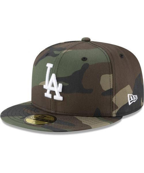 New Era Los Angeles Dodgers MLB League Basic Full Camo 59FIFTY Fitted Hat Brown Green Tan