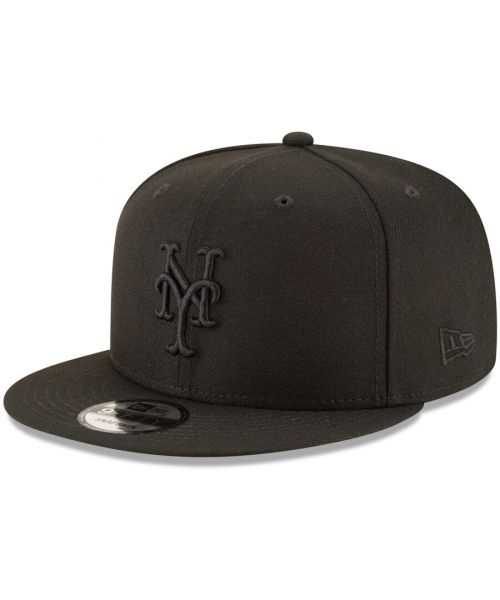 New Era New York Mets MLB Basic Snap 9FIFTY Snapback Hat Black On Black