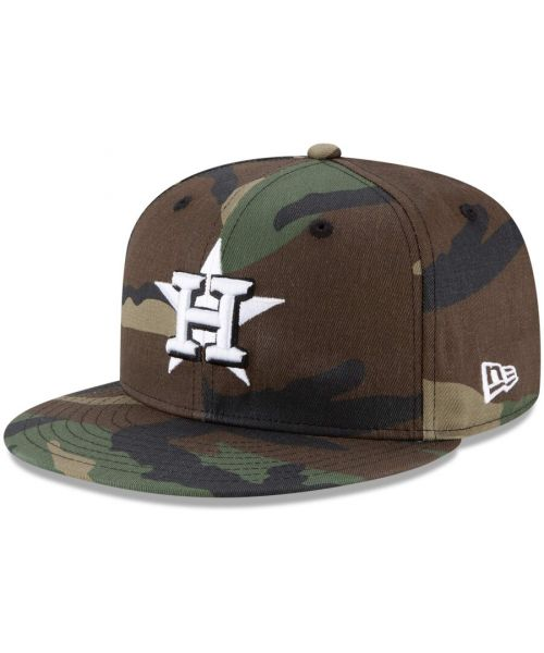 New Era Houston Astros MLB Basic Snap 9FIFTY Snapback Hat Green Camo White Logo