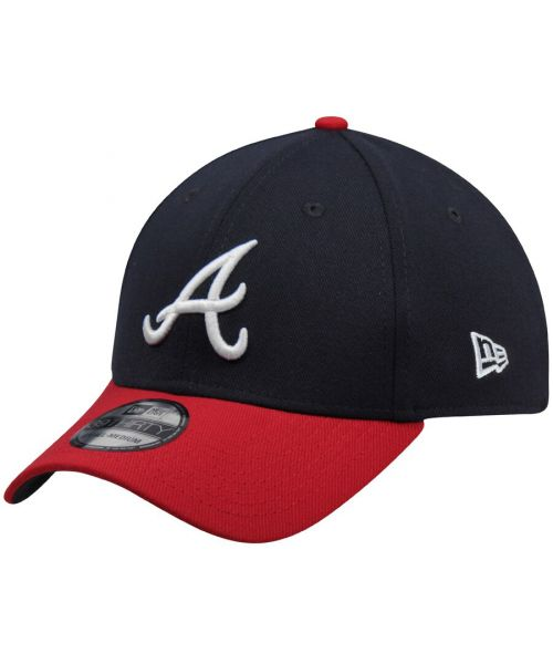 New Era Atlanta Braves Team Classic MLB 39THIRTY Stretch Fit Hat Navy Blue Red