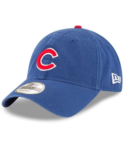 New Era Chicago Cubs MLB Core Classic 9TWENTY Adjustable Strapback Hat Blue Red Logo