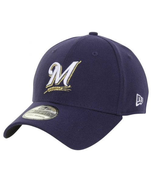 New Era Milwaukee Brewers MLB Team Classic 39THIRTY Stretch Fit Hat Navy Blue