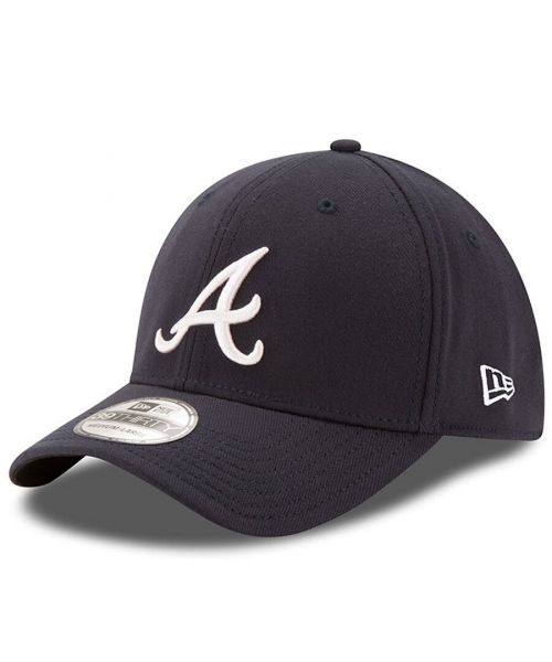 New Era Atlanta Braves Team Classic MLB 39THIRTY Stretch Fit Hat Navy Blue