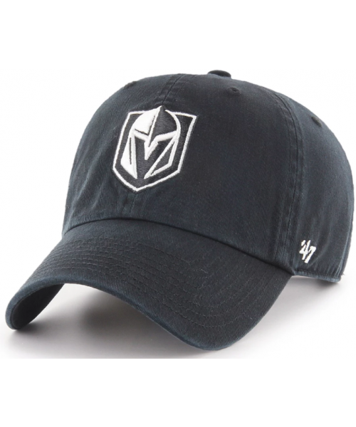 '47 Brand Vegas Golden Knights NHL Clean Up Adjustable Strapback Hat Black White Logo