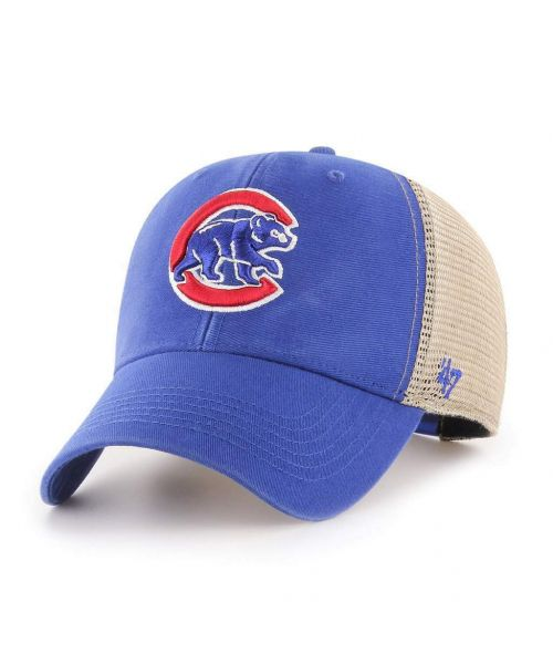 '47 Brand Chicago Cubs MLB Clean Up Flagship Trucker Snapback Adult Hat Blue Tan