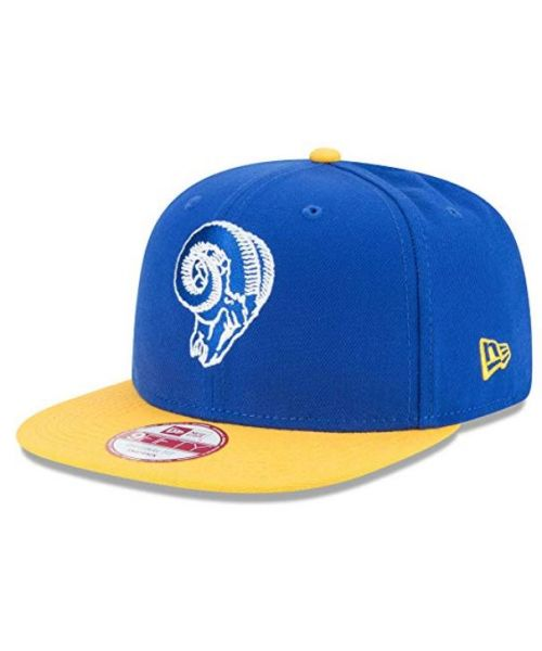 New Era Los Angeles Rams NFL Basic OTC Skull Logo 9FIFTY Snapback Hat Blue Yellow