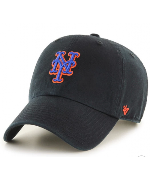 '47 Brand New York Mets MLB Clean Up Strapback Hat Black